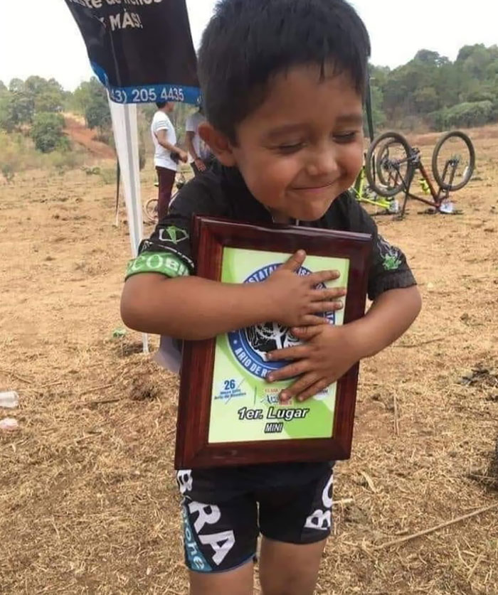 This Little Fella After Winning First Place In A Bike Tournament