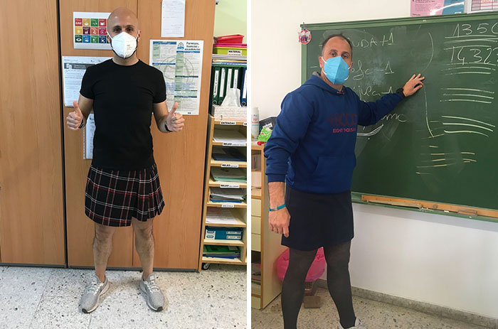 Spanish Male Teachers Wore Skirts To School After A Student Got Expelled Over It