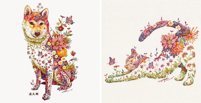 Este artista japonés representa gatos, perros y otros animales con arreglos florales en acuarela (30 imágenes)