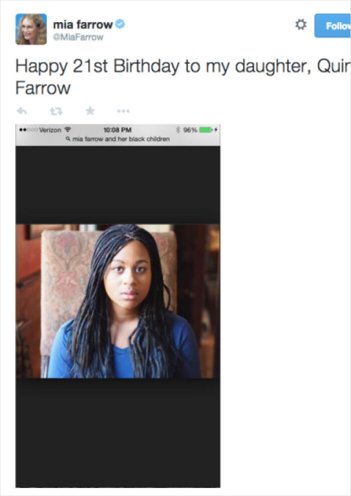 """Mia Farrow Wishes Her Adopted Black Daughter Happy Birthday On Twitter, Googles """"Mia Farrow And Her Black Children"""" To Find A Picture Of Her To Post"""