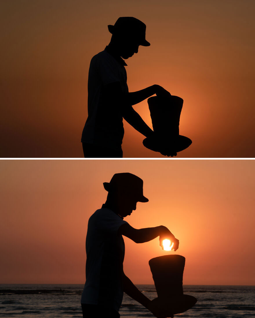 He Took A Beach And Sunset From His Hat