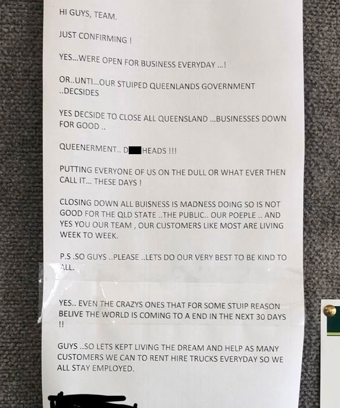 My Boss Posted This Email (Which We'd All Seen Already) Up On The Company Notice Board In Full View Of Customers