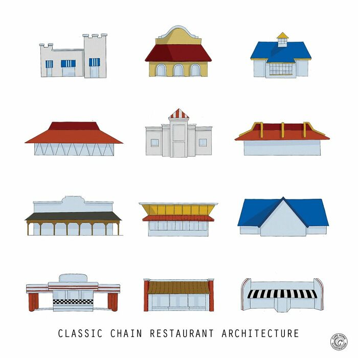 """I'm An Architectural Illustrator Who Got Interested In Chains (Like Pizza Hut) With """"Branded"""" Buildings, And Made This Piece"""