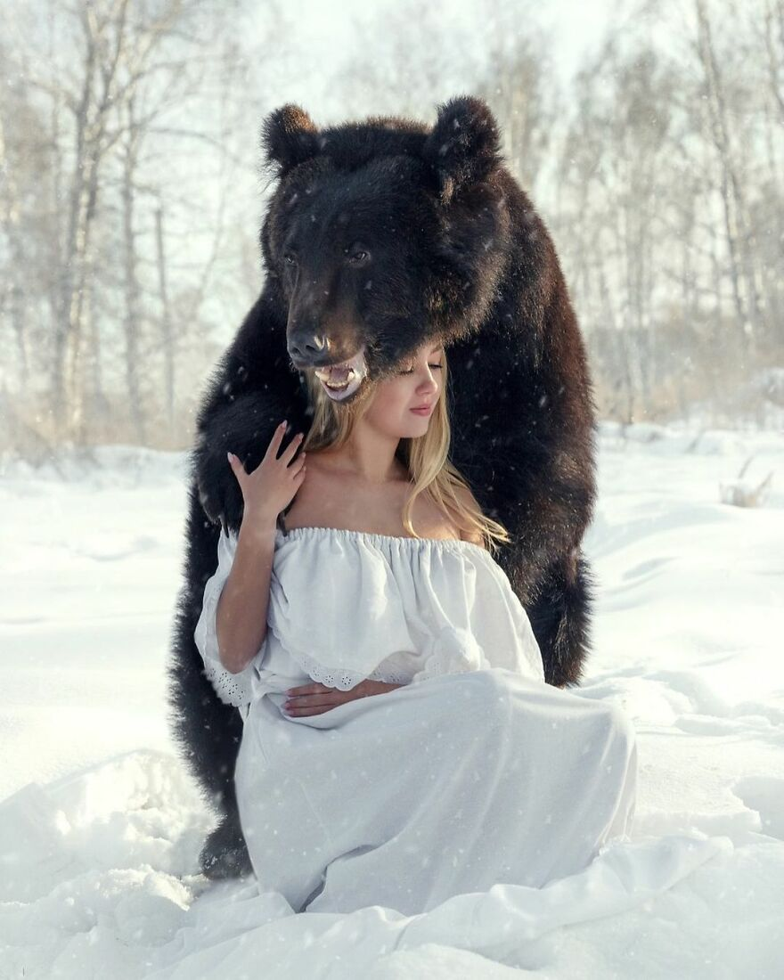 Russian Woman Rescued A Bear From A Closed-Down Zoo, And They're Best Buddies Now