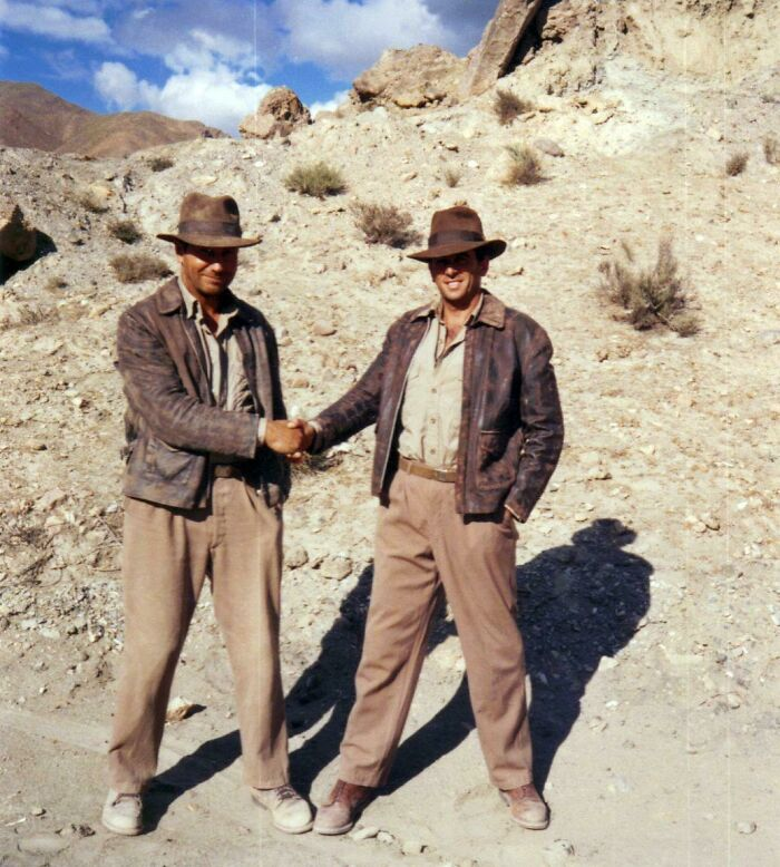 Harrison Ford And His Stunt Double On The Set Of Indiana Jones