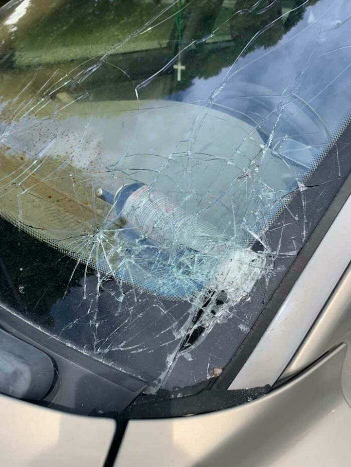 Friend Forgot He Had Bear Mace In His Car And The Hot Sun Turned It Into A Spice Missile That Shattered The Windshield And Coated The Inside In No-No Foam