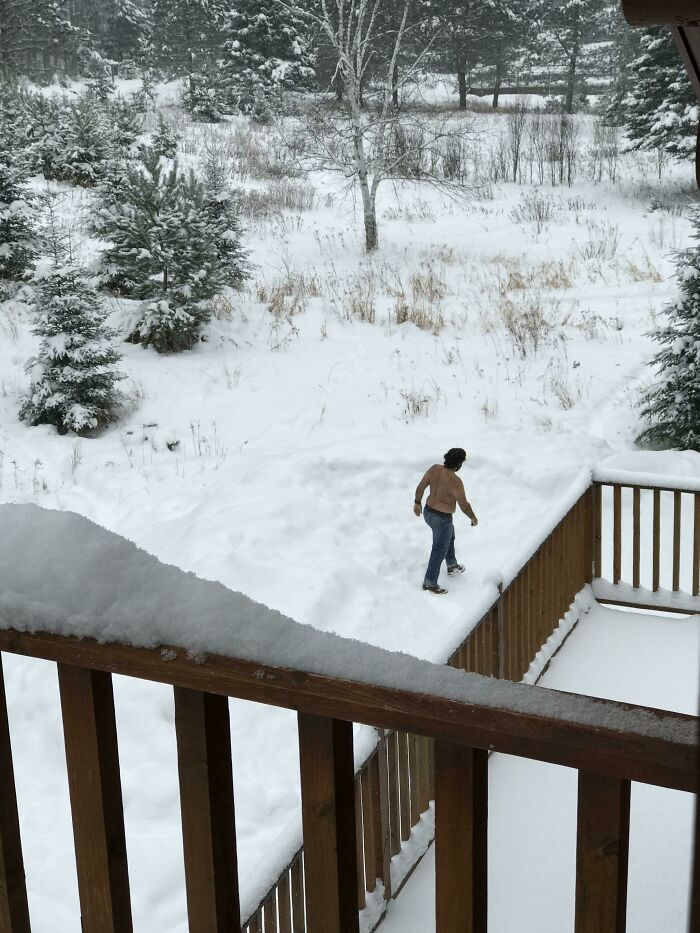 My Dad Booked A Trip To Canada After Telling Us He Was Sick Of The Florida Heat. Today, I Look Out My Balcony Window To See Him Walking Around Like This