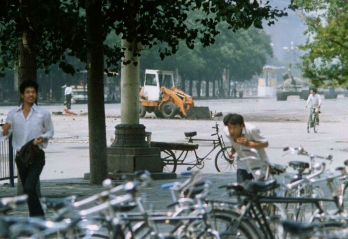 Tiananmen Square Before The Infamous Picture, The Guy Is In The Top Left, 1989