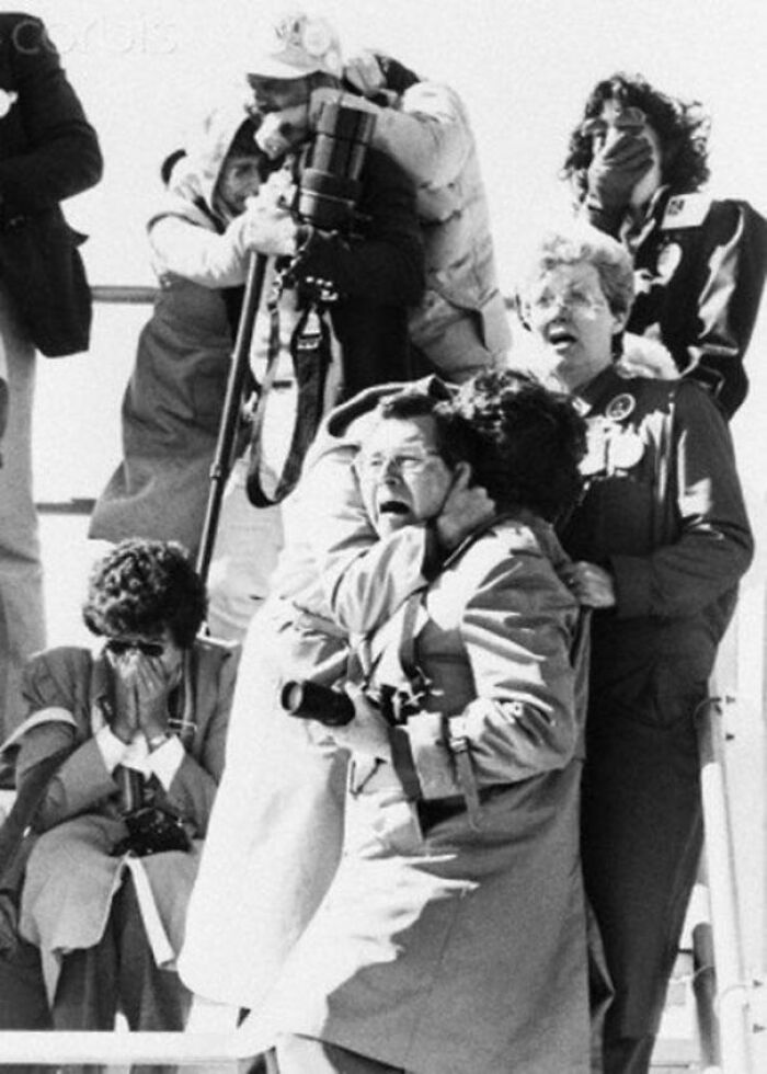 Onlookers Reacting To The Explosion Of The Challenger Space Shuttle