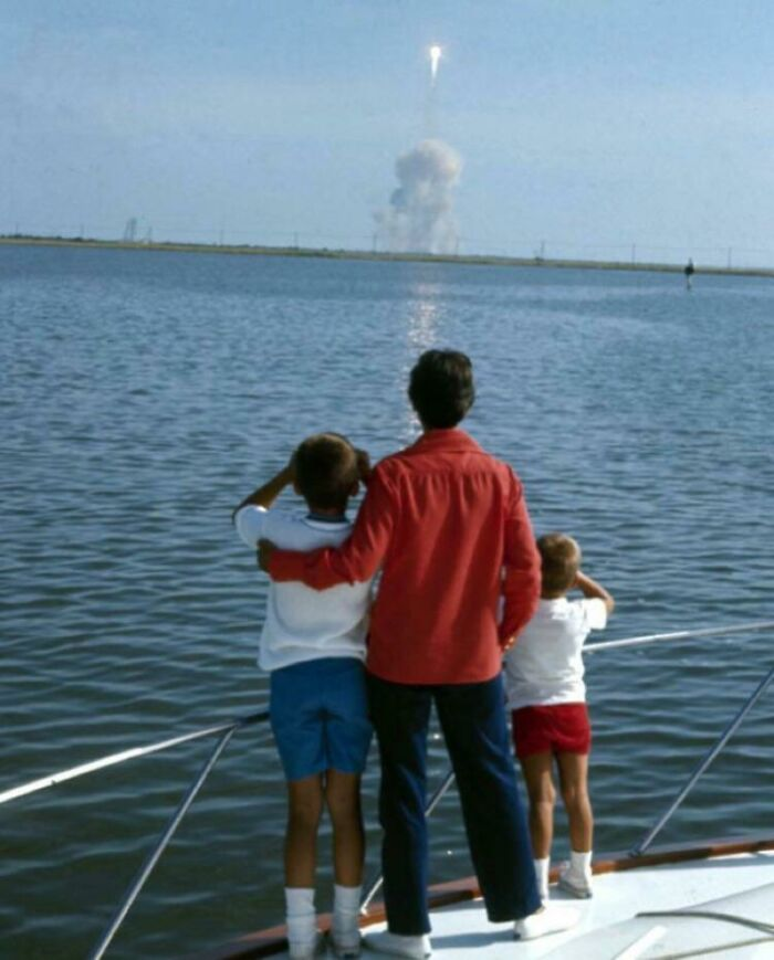 Neil Armstrong's Family Watching His Launch To The Moon-1969