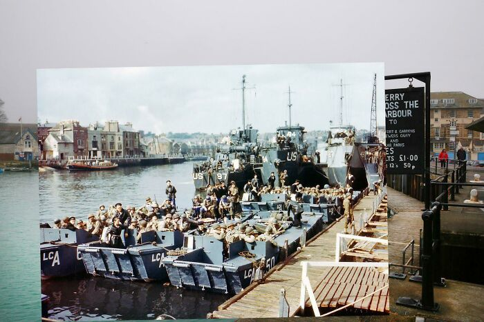 Soldiers At A Port In England Waiting To Leave For Normandy On D Day