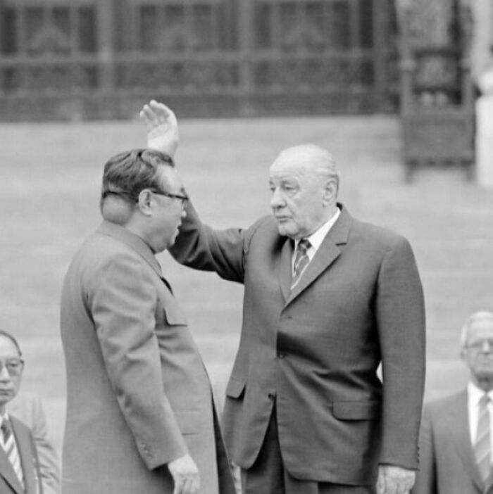 North Korean Founder Kim-Il Sung Had A Baseball Sized Tumor On The Back Of His Head. North Korean Propaganda Officials Had All Photos Taken Of Him From The Left Side. This Is One Of The Few Candid Photos Of The Tumor