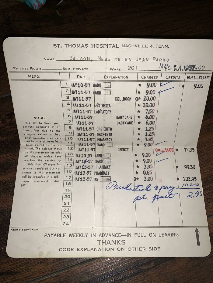 My Grandmama Just Passed Away And We Found The Hospital Bill Of When She Had My Aunt In 1957. Insurance Paid $100 So They Ended Up Paying $2.95 For Having A Baby