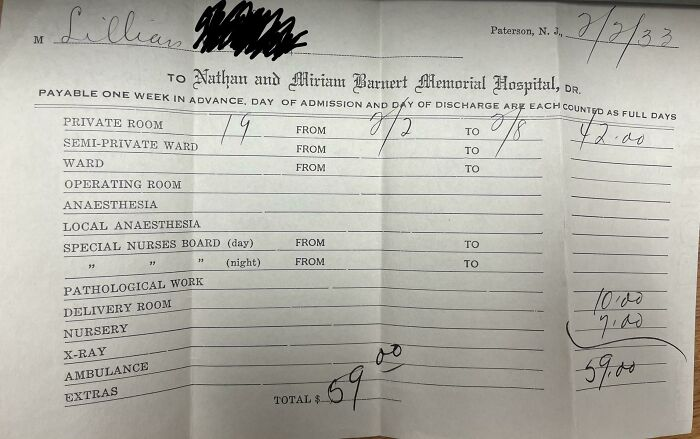 This 1933 Hospital Bill For A 7 Day Hospital Stay And Delivery