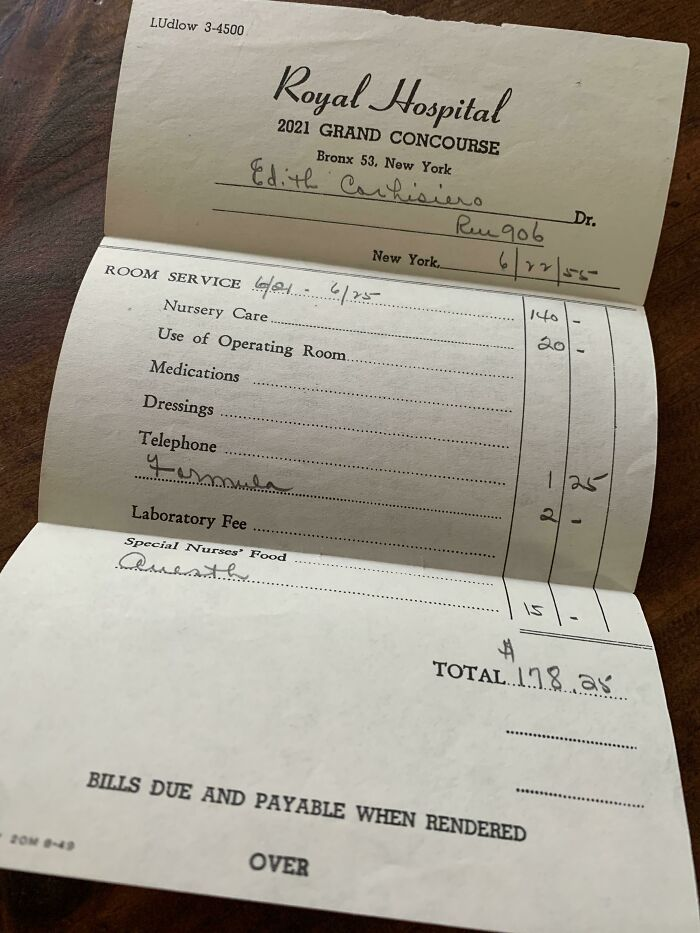 My Grandma's Hospital Bill After Giving Birth To My Dad In 1955