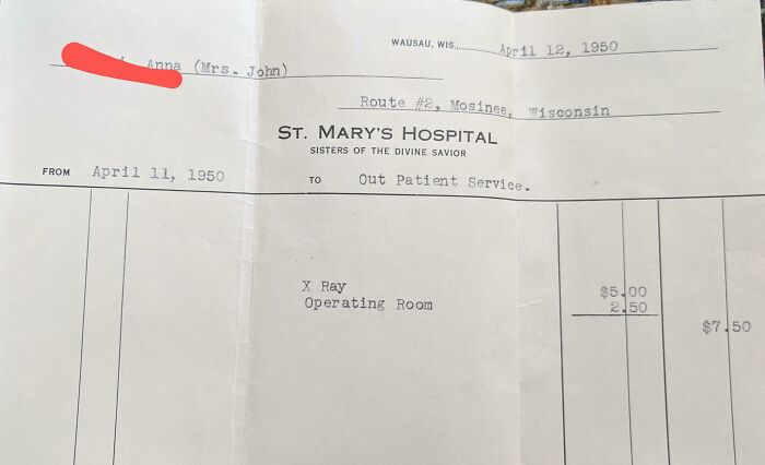 My Great Grandma's Medical Bill From 1950