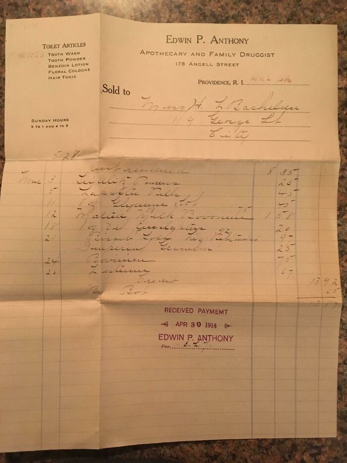 This Medical Bill From 1914 For $13.87.
