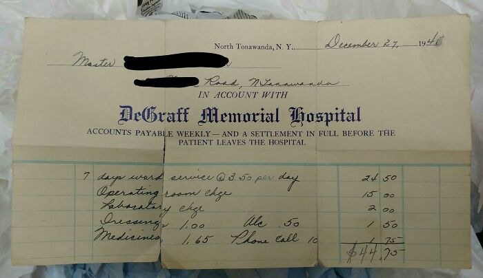 Hospital Bill I Could In The Garbage At Work. From The 1940s