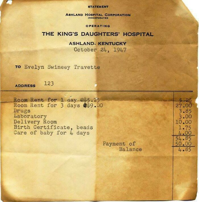 1947 Hospital Bill Found Out My Parents' Attic. Not Sure Who It's For