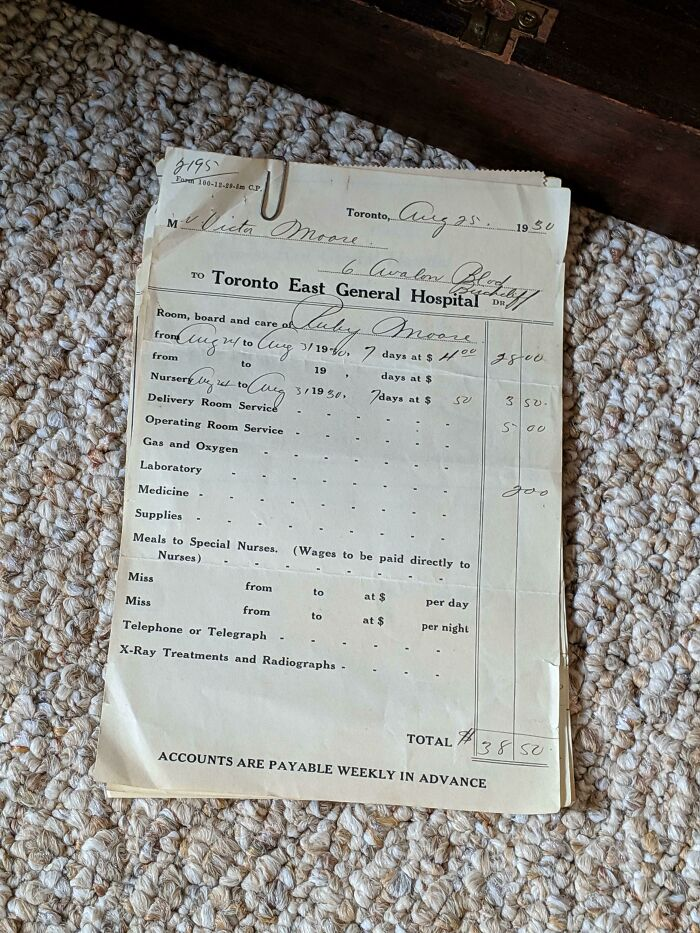 This Receipt For The Hospital Bill Charged To My Great Grandmother When She Had My Grandfather In 1930, Total Cost Was $38