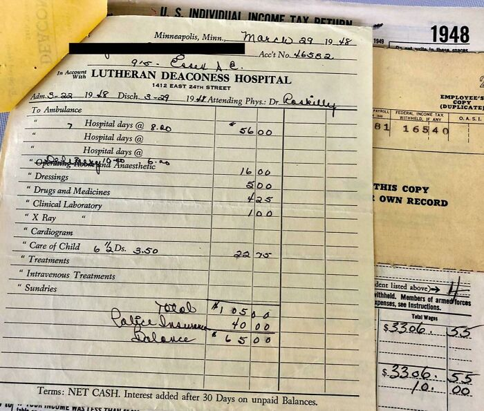 Happy 72nd Birthday Mom! Here's The $65 Minneapolis Hospital Bill For A Week's Stay.