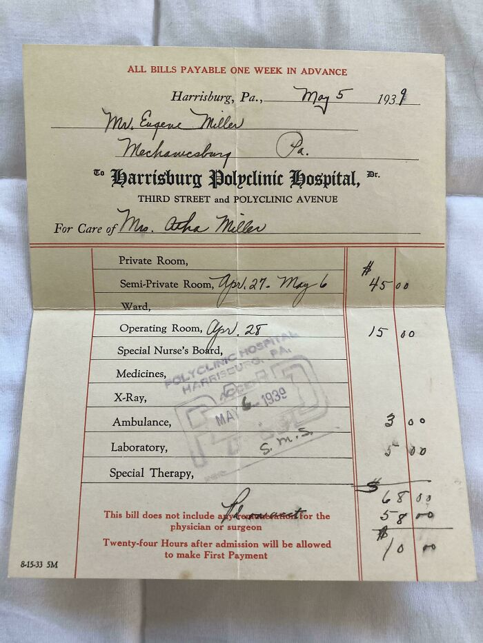 I Found This Hospital Bill Sent To My Great-Aunt For The Birth Of Her Child In 1939 (US)