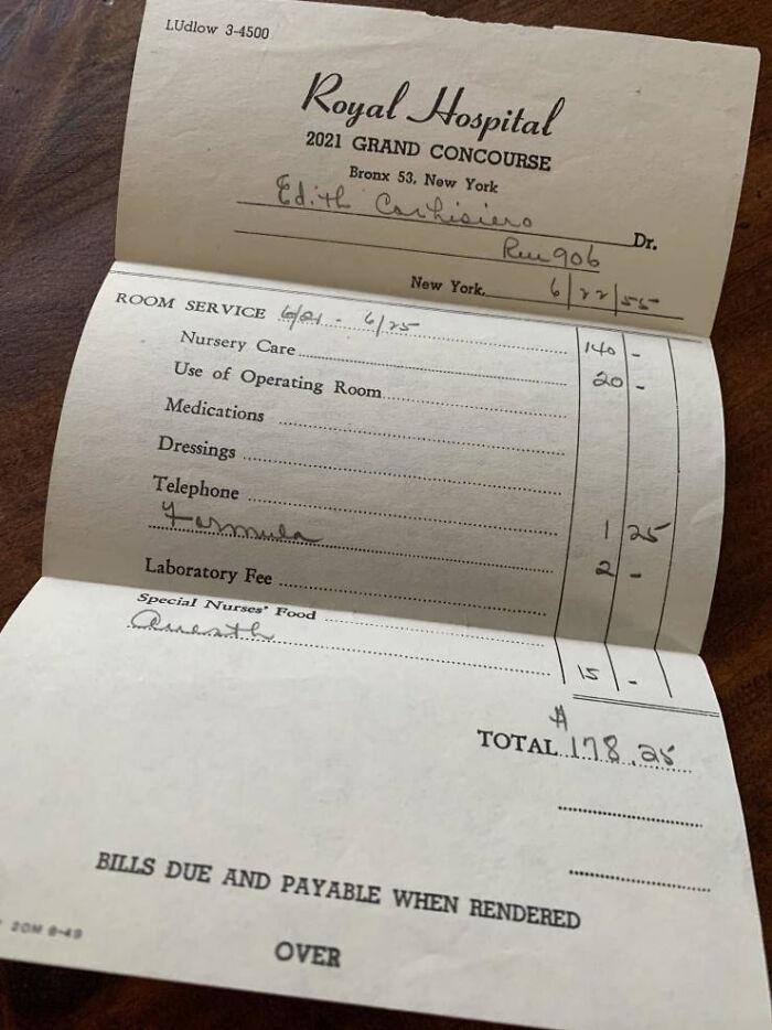 Hospital Bill For Child Birth In 1955