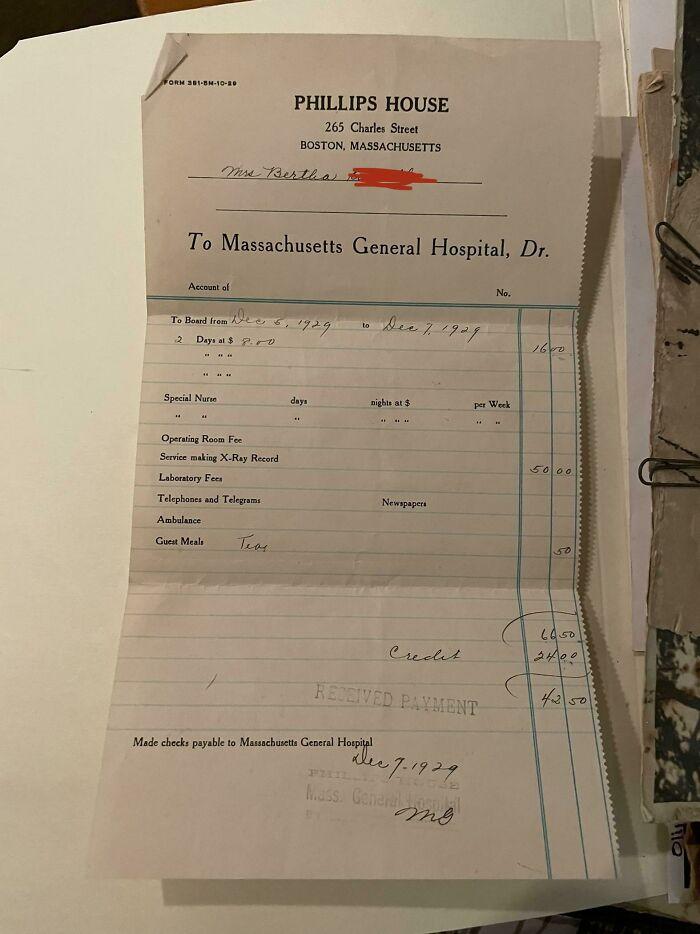 Hospital Bill From My Grandpas Birth Circa 1929