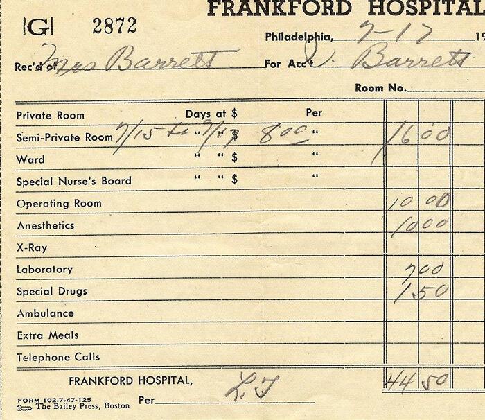 1948 Hospital Bill...