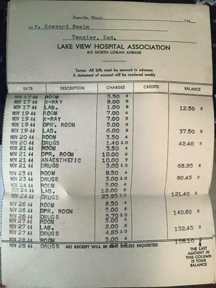 Grandpa's Hospital Bill From 1944
