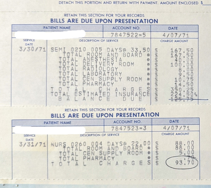 The Total Cost For My Birth In 1971 In Virginia. $350.25