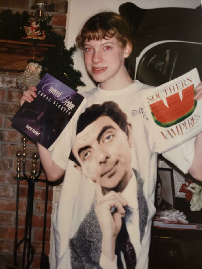 Me Showing Off My Vampire Books In My Mr. Bean Shirt