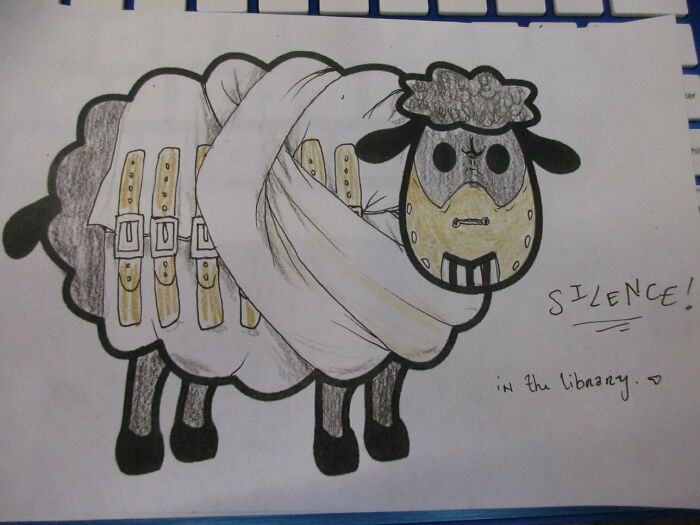 Library Had Sheep Coloring Pages Out For The Kids Last Year. Here's My Girlfriend's Sheep...