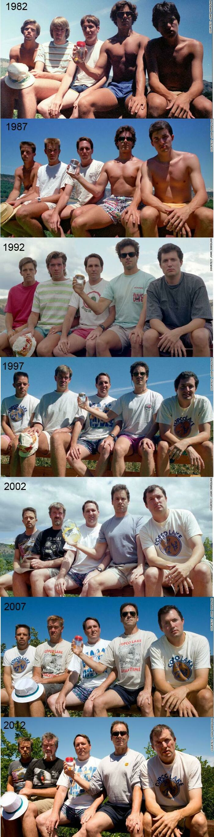 Every Five Years From 1982-2012, Five Men Take The Same Photo At Their Cabin At Copco Lake In California. They Plan On Adding A 2017 Photo This Summer.