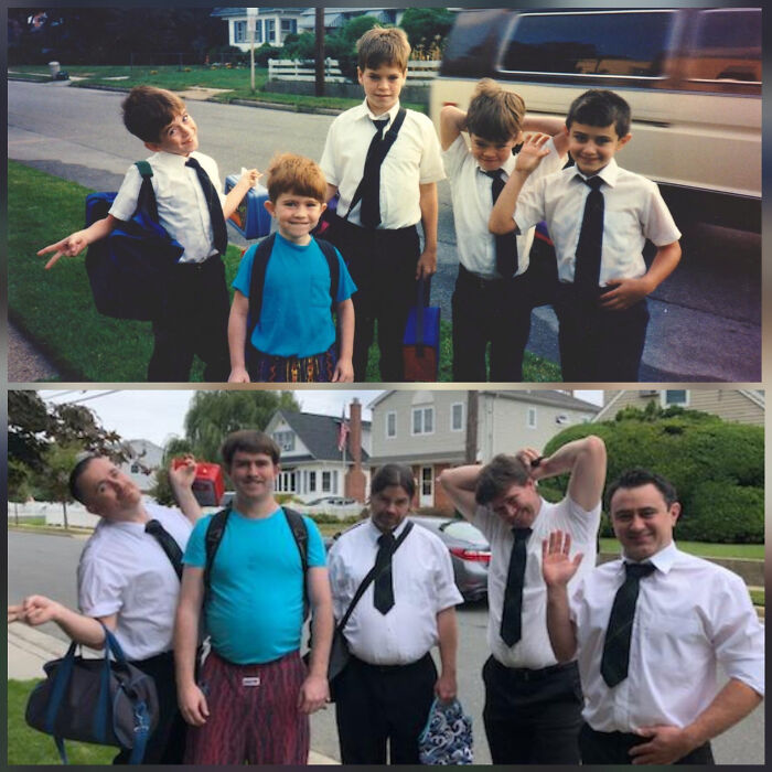 For My Mom's 60th Birthday, My Brothers, My Cousin And I Recreated A Photo From My First Day Of Kindergarten.