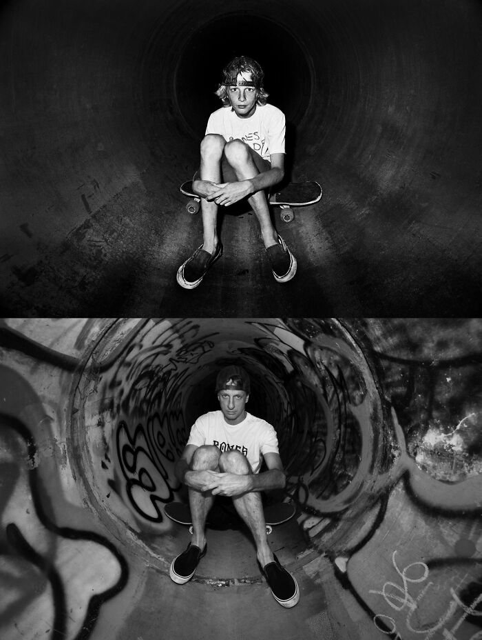 Tony Hawk Around 1983 And Earlier This Year At Sanoland In Cardiff, Ca