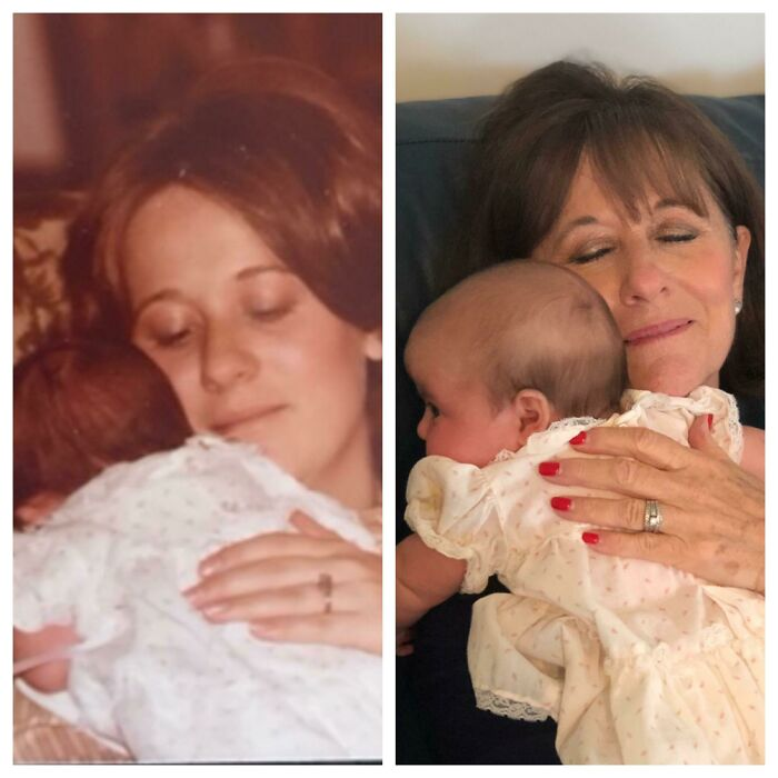 My Mom Holding Me 1979, My Mom Holding My Daughter In The Same Dress 2019.