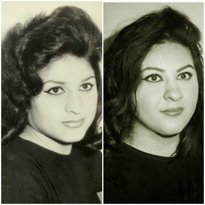 My Grandma's Lebanese Passport Picture From 1955 (Left) And Me In The Present (Right). Christmas Gift To My Dad Last Year