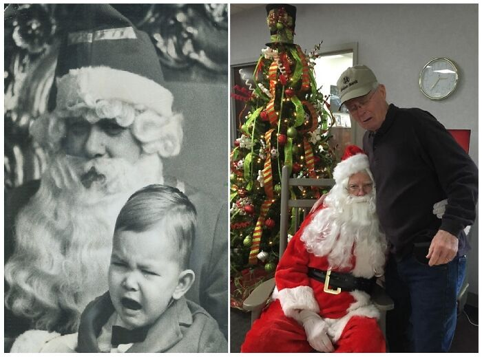 Pop Wanted To Recreate His Childhood Santa Photo
