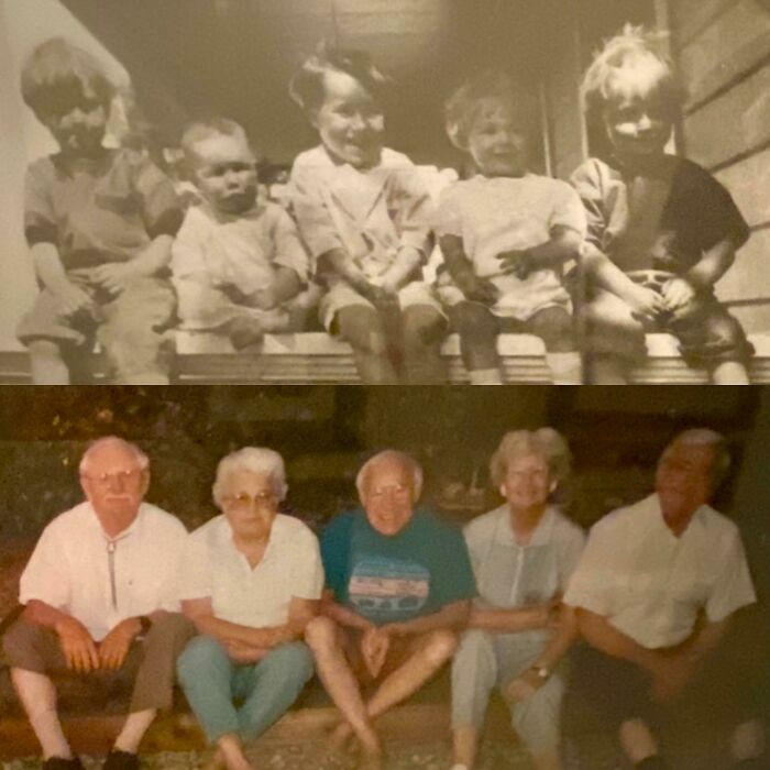 My Grandpa In The Middle With His Sister Annetta On His Left With Their Best Friends 1927 vs. 1992