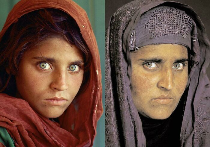 This Famous Photo Of A 12yr Old Afghan Girl And Her 18 Years Later (Photo By Steve Mccurry)