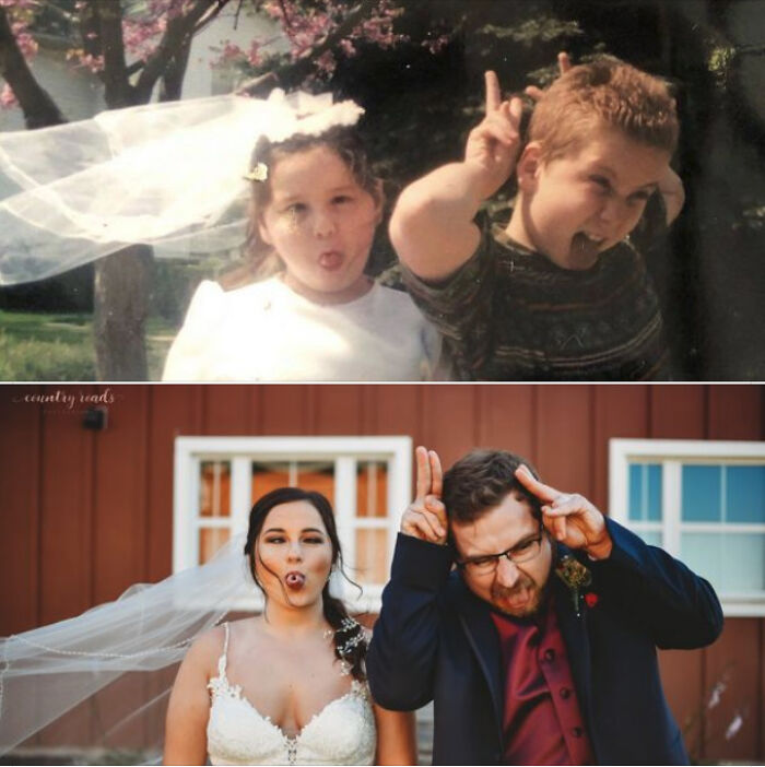 My Sister Got Married Over The Weekend, So We Recreated This Gem From Our Childhood