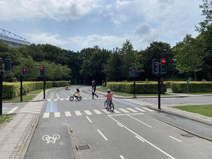 Miniature Traffic Playground In Copenhagen Where Kids Learn To Bike In Traffic