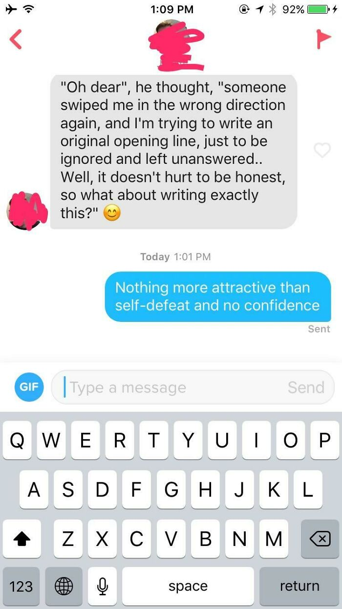 Inner Monologue As Tinder Opener