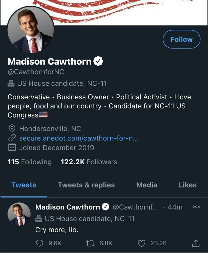 The First Tweet From Our New Congressman...
