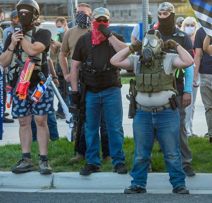 Man Brings Life Jacket, Nerf Guns, And Vacuum To A 2nd Amendment Protest