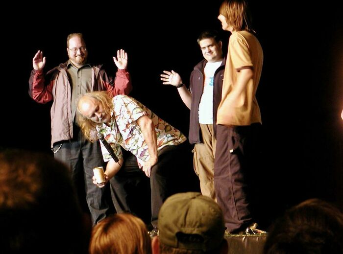 Comedian Gallagher Saw Me Signing To My Deaf Son In Front Of The Stage At His Show In Alaska And Assumed I Was An Interpreter For Him. I Signed The Whole Show On Stage (Me Far Left)