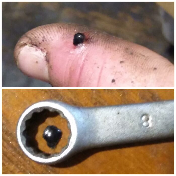 An Important Reminder That Ppe Is Always Good To Follow! This Is A Piece Of Metal That Shot From My Hammer Like A Bullet After Impacting Another Piece Of Metal. Easily Could Have Been My Eye!