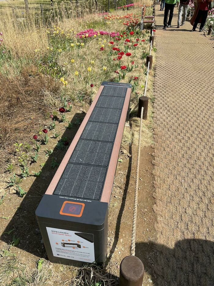 Solar Powered Benches Here In Seoul, South Korea. Complete With USB And Wireless Charging Docks