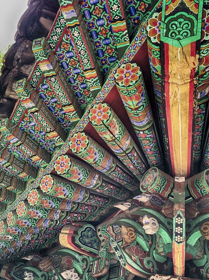 This Hand-Painted Underside Of A Temple Roof In Korea